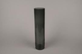 B607W3 Vase verre cylindre noir D10.5cm H43.5cm