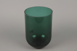 B608W3 Green glass vase D18cm H25cm