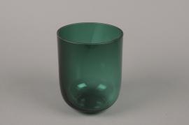 B608W3 Vase verre fumé vert D14cm H17.5cm