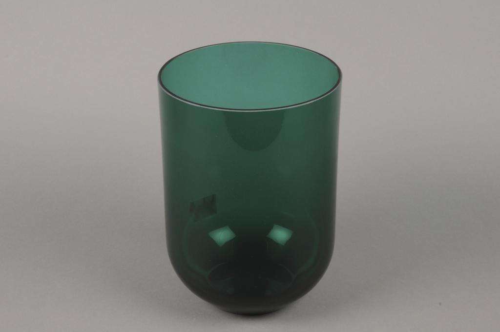 B608W3 Vase verre fumé vert D18cm H25cm