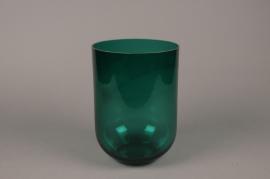 B610W3 Vase en verre  bleu D18cm H25.5cm