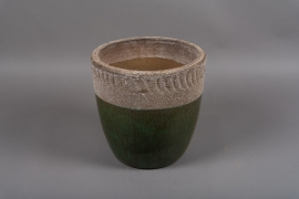 B907DQ Green terracota planter D28cm H28cm