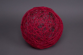 Bag of 12 wicker balls red 5cm