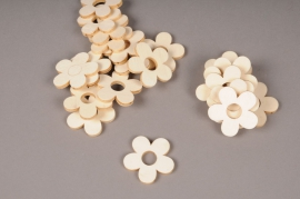 x394mi Bag of 21 wooden flowers 5 petals D5cm