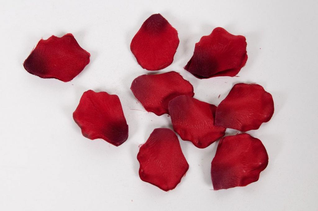 Bag of 250 red artificial rose petals