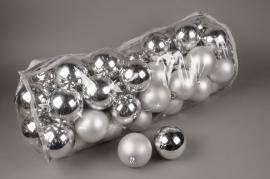 X157ZY Bag of 50 plastic balls silver D10cm