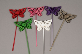 A399E9 Bag of 6 assorted wooden butterfly picks H25cm