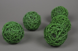 ob52fm Paquet de 6 boules en osier vert D10cm