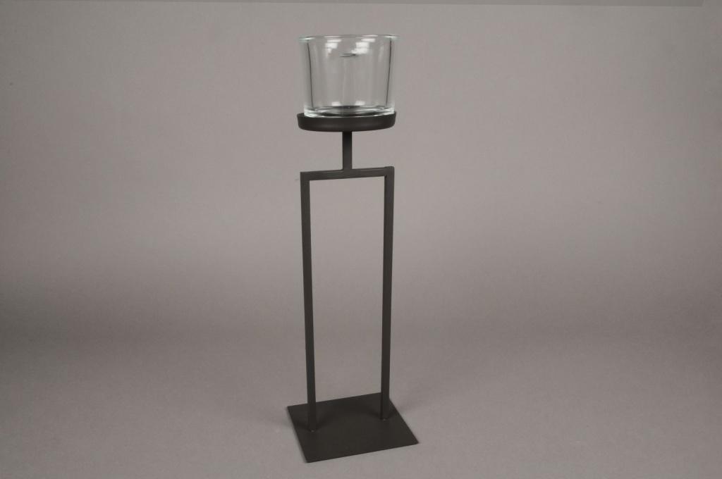 A025ZV Black metal stemmed light holder H40cm