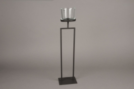 A024ZV Black metal stemmed light holder H50cm