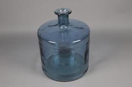 C111DQ Blue glass bottle vase D35cm H45cm