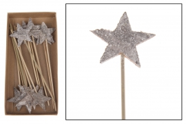 X036U7 Box of 20 wooden stars picks H17cm
