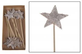X036U7 Boîte 20 pics étoiles bois H17cm