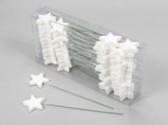 X014X4 Box of 48 stars peak with white glitter H23cm