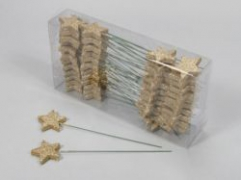 X015X4 Box of 48 stars peak with gold glitter H23cm