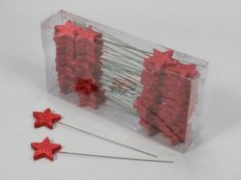 X014X4 Box of 48 stars peak with red glitter H23cm