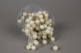 Boîte de 100 perles sur épingle champagne 15x75mm