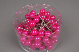 A120MG Boîte de 100 perles sur épingle fuchsia 15x75mm