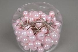 A118MG Boîte de 100 perles sur épingle rose 15x75mm