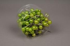 a112mg Boîte de 100 perles sur épingle vert pomme 15x75mm