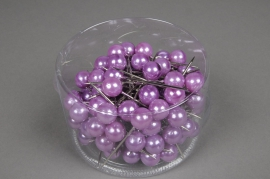 A122MG Boîte de 100 perles sur épingle violet 15x75mm