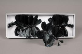 A098DZ Boîte de 12  papillons en plumes noir 8cm