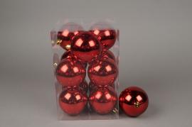 X121ZY Boîte de 12 boules plastique rouge D8cm