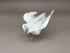 A379E9 Boîte de 12 pics couple de colombes blanc D10cm