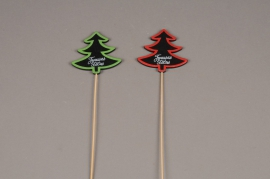 X007E9 Set of 12 christmas trees picks JOYEUSES FETES 7.5 x 5.5cm