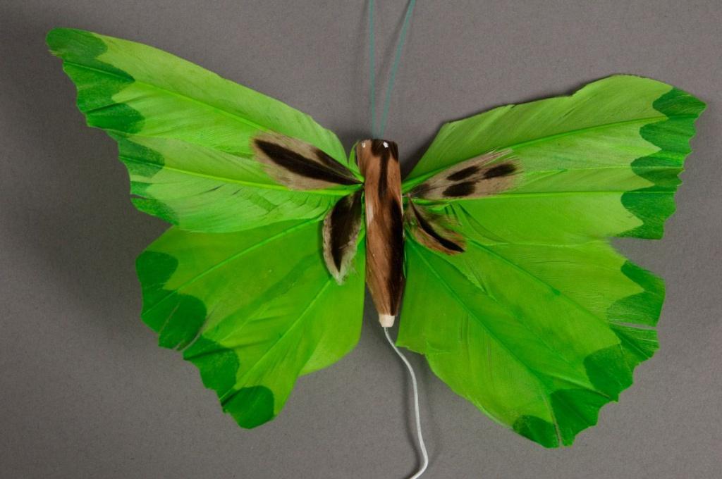 Boîte de 12 pics papillons verts 20cm