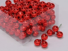 X185X4 Boîte de 144 boules en verre rouge brillant D25mm