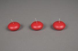 A138E2 Boîte de 24 bougies flottantes rouge D45mm