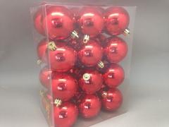 X120ZY Boîte de 24 boules plastique rouge D6cm