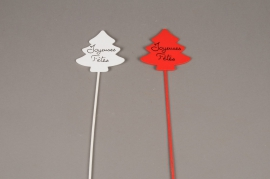 X000D0 Set of 24 christmas trees picks JOYEUSES FETES 7.5 x 5.5cm