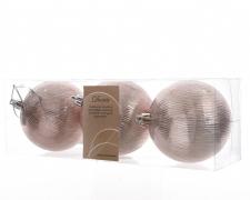 X264KI Boîte de 3 boules plastique rose D8cm