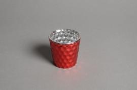 A298KI Boîte de 3 photophores en verre rouge D6cm H6.5cm