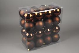X071ZY Boîte de 32 boules en plastique chocolat D10cm
