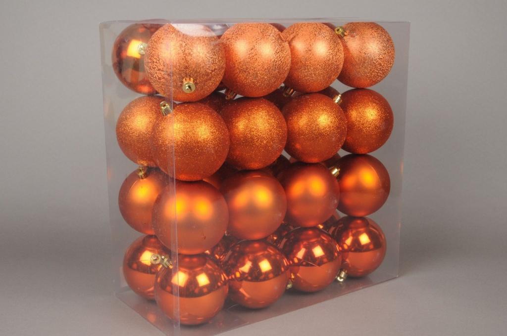 X047ZY Boîte de 32 boules en plastique cuivre D10cm