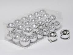 X026X4 Boîte de 36 boules plastique argent D6cm