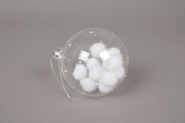 X022G1 Boîte de 4 boules transparentes + flocons D10cm