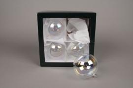 X283T1 Boite de 4 boules transparentes irisées D10cm