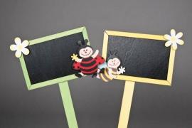 A012TW Boîte de 4 pics ardoise coccinelle 15 x 10cm H30cm