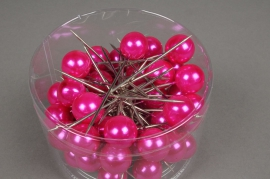 A133MG Boîte de 50 perles sur épingle fuchsia 20x90mm