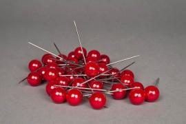 A132MG Boîte de 50 perles sur épingle rouge 20x90mm