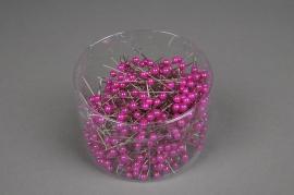 A093MG Boîte de 500 perles sur épingle fuchsia 6x65mm