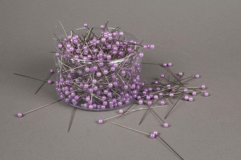 A095MG Boîte de 500 perles sur épingle violet 6x65mm