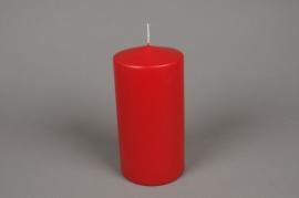 A047E2 Boîte de 6 bougies cylindre rouge D10cm H20cm