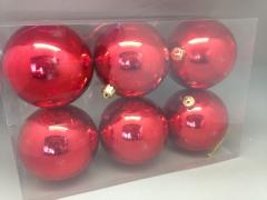 X122ZY Boîte de 6 boules plastique rouge D10cm