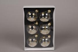 X014G1 Boîte de 6 boules verre paillettes argent D5.5cm