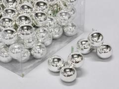 X171X4 Boîte de 72 boules en verre argent brillant D30mm